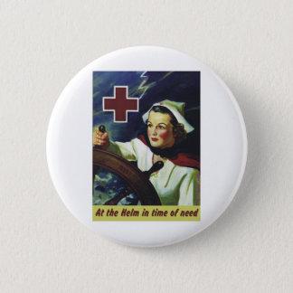 Bóton Redondo 5.08cm Poster da cruz vermelha - enfermeira no leme