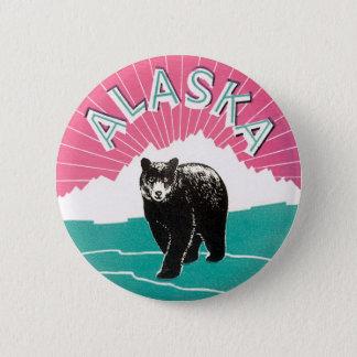 Bóton Redondo 5.08cm Poster das viagens vintage, urso preto de Alaska