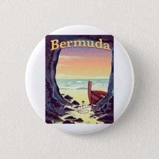 Bóton Redondo 5.08cm Poster de viagens da caverna do pirata de Bermuda