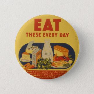 Bóton Redondo 5.08cm Poster do leite dos dias escolares do vintage