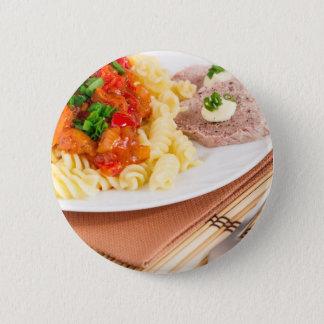 Bóton Redondo 5.08cm Prato do almoço da massa italiana, molho vegetal