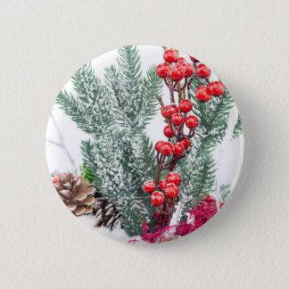 Bóton Redondo 5.08cm Prato do Natal com a decoração dos cogumelos das