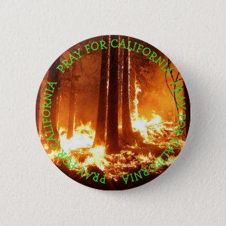 Bóton Redondo 5.08cm Pray para o botão selvagem dos fogos de Califórnia