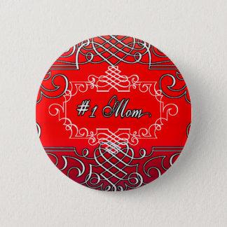Bóton Redondo 5.08cm Presente vermelho da tipografia do dia das mães da