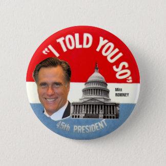 Bóton Redondo 5.08cm Presidente de Mitt Romney 45th