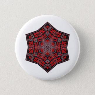 Bóton Redondo 5.08cm preto e vermelho tribais do design do kaleido