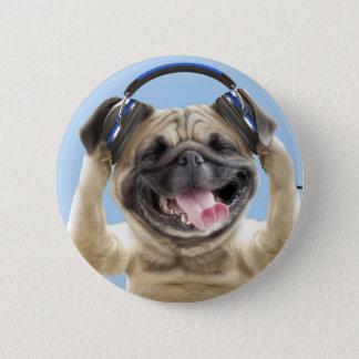 Bóton Redondo 5.08cm Pug com fones de ouvido, pug, animal de estimação
