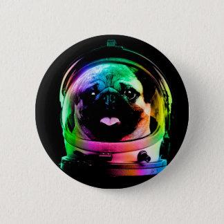 Bóton Redondo 5.08cm Pug do astronauta - pug da galáxia - espaço do pug