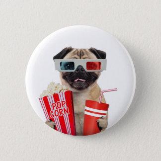 Bóton Redondo 5.08cm Pug que olha um filme