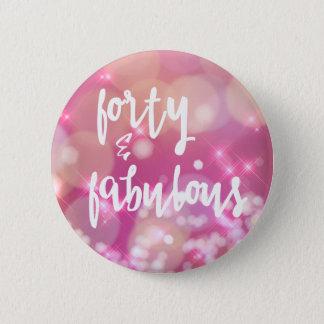 Bóton Redondo 5.08cm Quarenta & fabuloso - botão Glam cor-de-rosa do