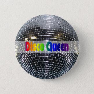 Bóton Redondo 5.08cm Rainha de prata brilhante retro do disco da bola