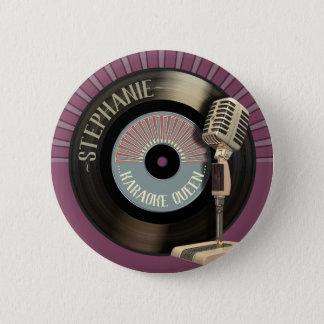 Bóton Redondo 5.08cm Rainha Mic retro do karaoke e registro