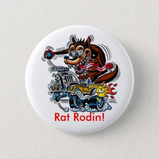 Bóton Redondo 5.08cm Rato no hot rod, rato Rodin!