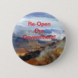 Bóton Redondo 5.08cm Reabra nosso botão do governo, Pin