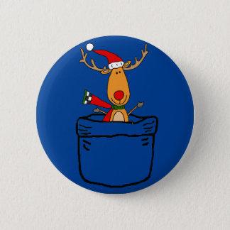 Bóton Redondo 5.08cm Rena engraçada em uns desenhos animados do Natal