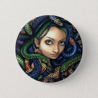 """Bóton Redondo 5.08cm """"Retrato botão do Medusa"""""""