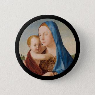 Bóton Redondo 5.08cm Retrato de Mary que guardara o bebê Jesus