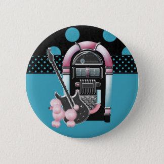 Bóton Redondo 5.08cm Rock and roll cor-de-rosa da caniche