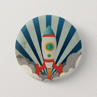 Bóton Redondo 5.08cm Rocket colorido com raios azuis e fumo branco