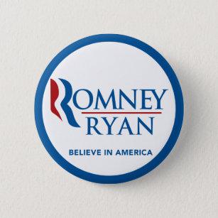 Bóton Redondo 5.08cm Romney Ryan acredita na beira azul redonda de