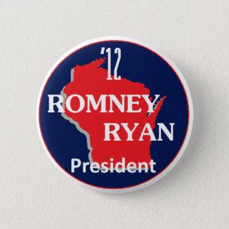 Bóton Redondo 5.08cm Romney Ryan WISCONSIN