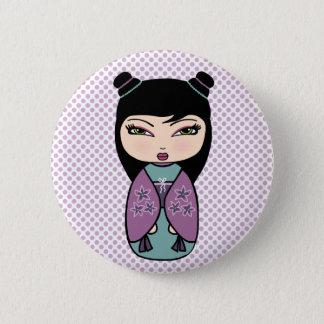 Bóton Redondo 5.08cm Roxo da boneca de Kokeshi, botão redondo da