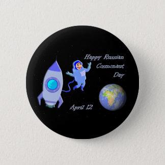 Bóton Redondo 5.08cm Russo cosmonauta dia o 12 de abril feliz