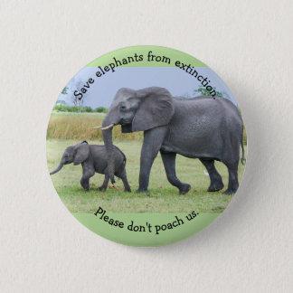 Bóton Redondo 5.08cm Salvar elefantes da extinção. Pls não nos caça