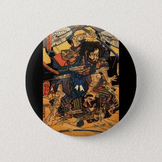 Bóton Redondo 5.08cm Samurai no combate, cerca de 1800's