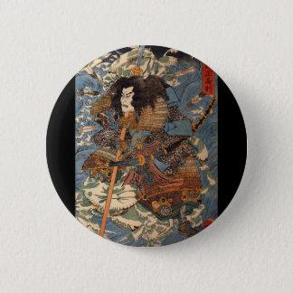Bóton Redondo 5.08cm Samurai que surfa nas partes traseiras dos