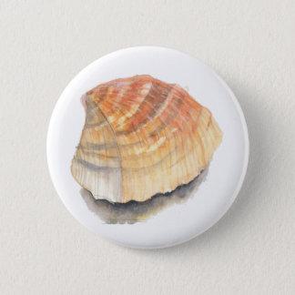 Bóton Redondo 5.08cm Seashell do berbigão, alaranjado e amarelo da