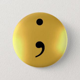 Bóton Redondo 5.08cm Semicolon - metal do ouro