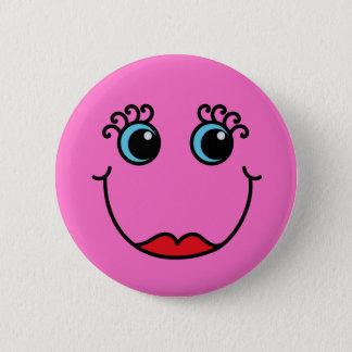 Bóton Redondo 5.08cm Senhora cor-de-rosa smiley face