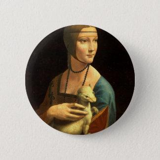 Bóton Redondo 5.08cm Senhora da pintura de Da Vinci original com um