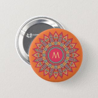 Bóton Redondo 5.08cm Seu monograma em botões de um quadro de Boho