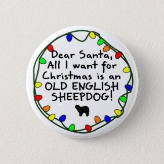 Bóton Redondo 5.08cm Sheepdog inglês velho do caro papai noel