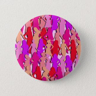 Bóton Redondo 5.08cm Silhueta cor-de-rosa das mulheres