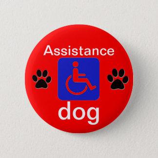 Bóton Redondo 5.08cm símbolo deficiente do cão do auxílio com patas