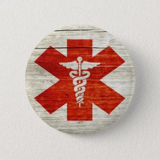 Bóton Redondo 5.08cm Símbolo médico do caduceus vermelho