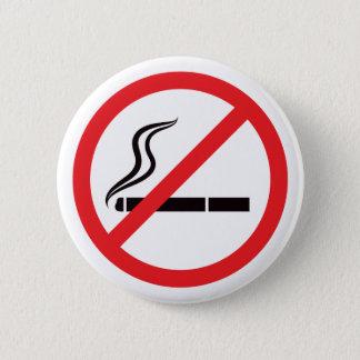 Bóton Redondo 5.08cm Sinal não fumadores com o botão preto do símbolo