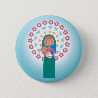Bóton Redondo 5.08cm Sira de mãe a Mary e a bebê Jesus sob o céu azul