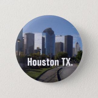 Bóton Redondo 5.08cm Skyline de Houston Texas (panorâmico)