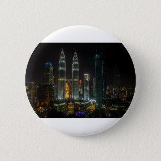 Bóton Redondo 5.08cm Skyline de Kuala Lumpar na noite