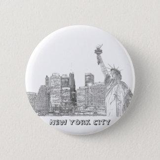Bóton Redondo 5.08cm Skyline de Manhattan e a estátua da liberdade