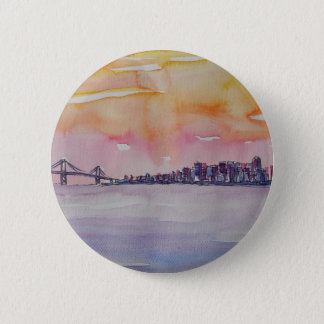Bóton Redondo 5.08cm Skyline San Francisco da área da baía com ponte de