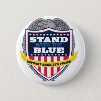 Bóton Redondo 5.08cm Suporte com o botão azul