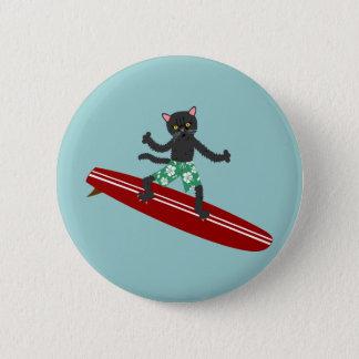 Bóton Redondo 5.08cm Surfista de Longboard do gato preto