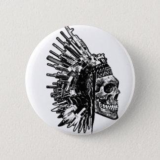 Bóton Redondo 5.08cm T-shirt tribal do gráfico do crânio, das armas e