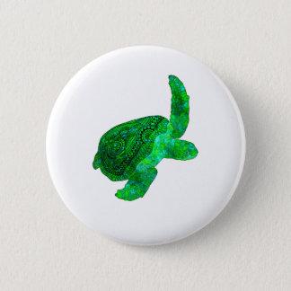 Bóton Redondo 5.08cm Tartaruga de mar verde tribal