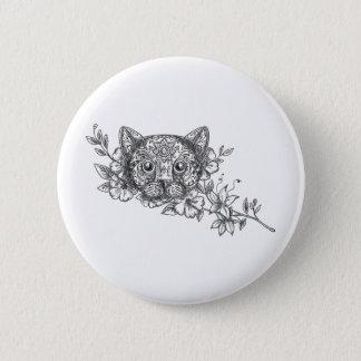 Bóton Redondo 5.08cm Tatuagem principal da flor do jasmim do gato